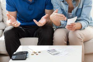 Couple having not enough money for bills
